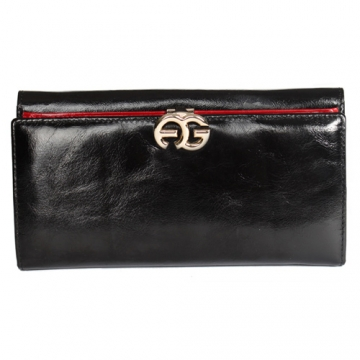 Anais Gvani ® Long Italian Leather Bi-fold Wallet with Symbol-Hinge Clasp-Black