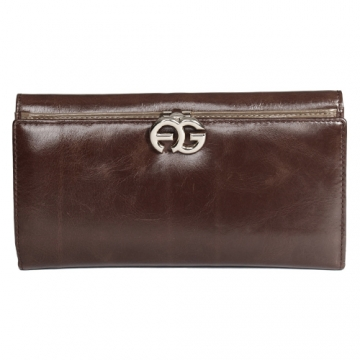 Anais Gvani ® Long Italian Leather Bi-fold Wallet with Symbol-Hinge Clasp-Brown