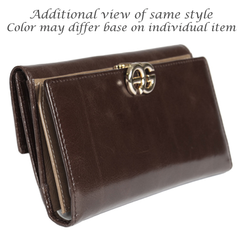 Anais Gvani® Long Italian Leather Bi-fold Wallet with Symbol-Hinge Clasp