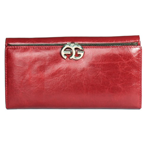 Anais Gvani Long Italian Leather Bi-fold Wallet with Symbol-Hinge Clasp-Red