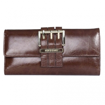 Anais Gvani ® Smooth Italian Leather Checkbook Wallet with Buckle Accent-Brown