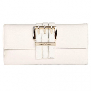 Anais Gvani ® Textured Italian Leather Checkbook Wallet with Buckle Accent-White