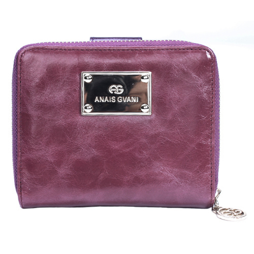 Dark Purple Anais Gvani Italian Leather Block-Color and Zip-Around Wallet