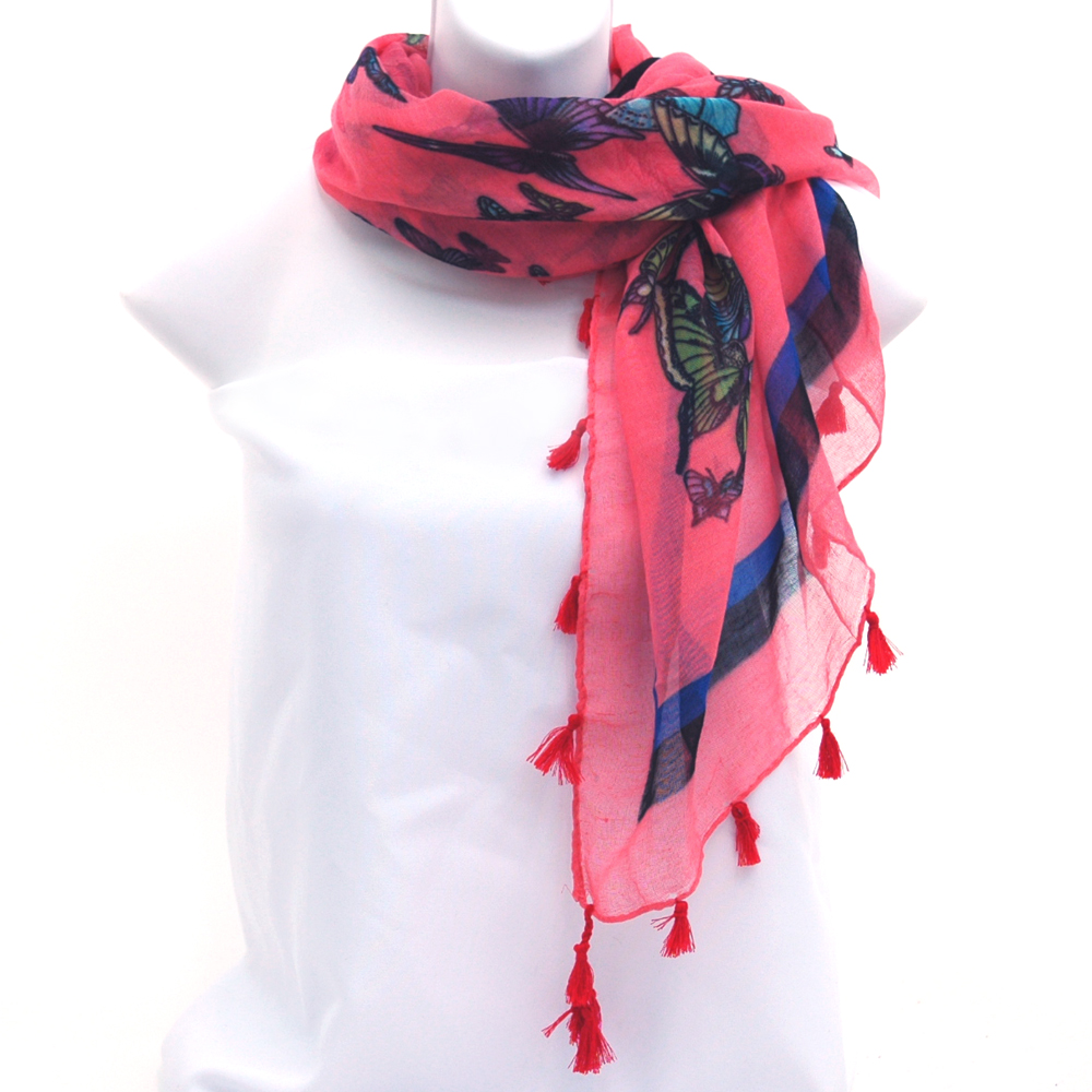 Square Scarf with Butterfly Design and Tassel Accents-Pink
