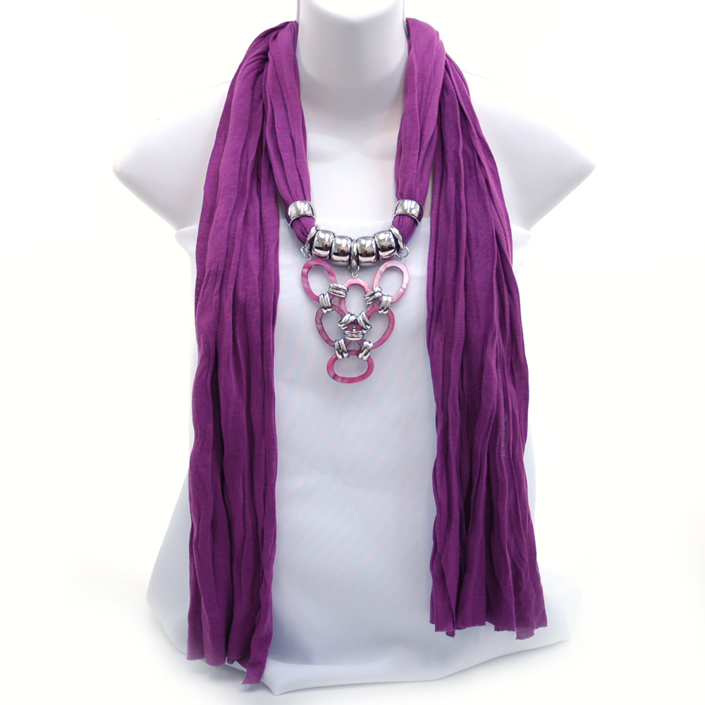 Bold Color Necklace Style Scarf w/ Acrylic Charms