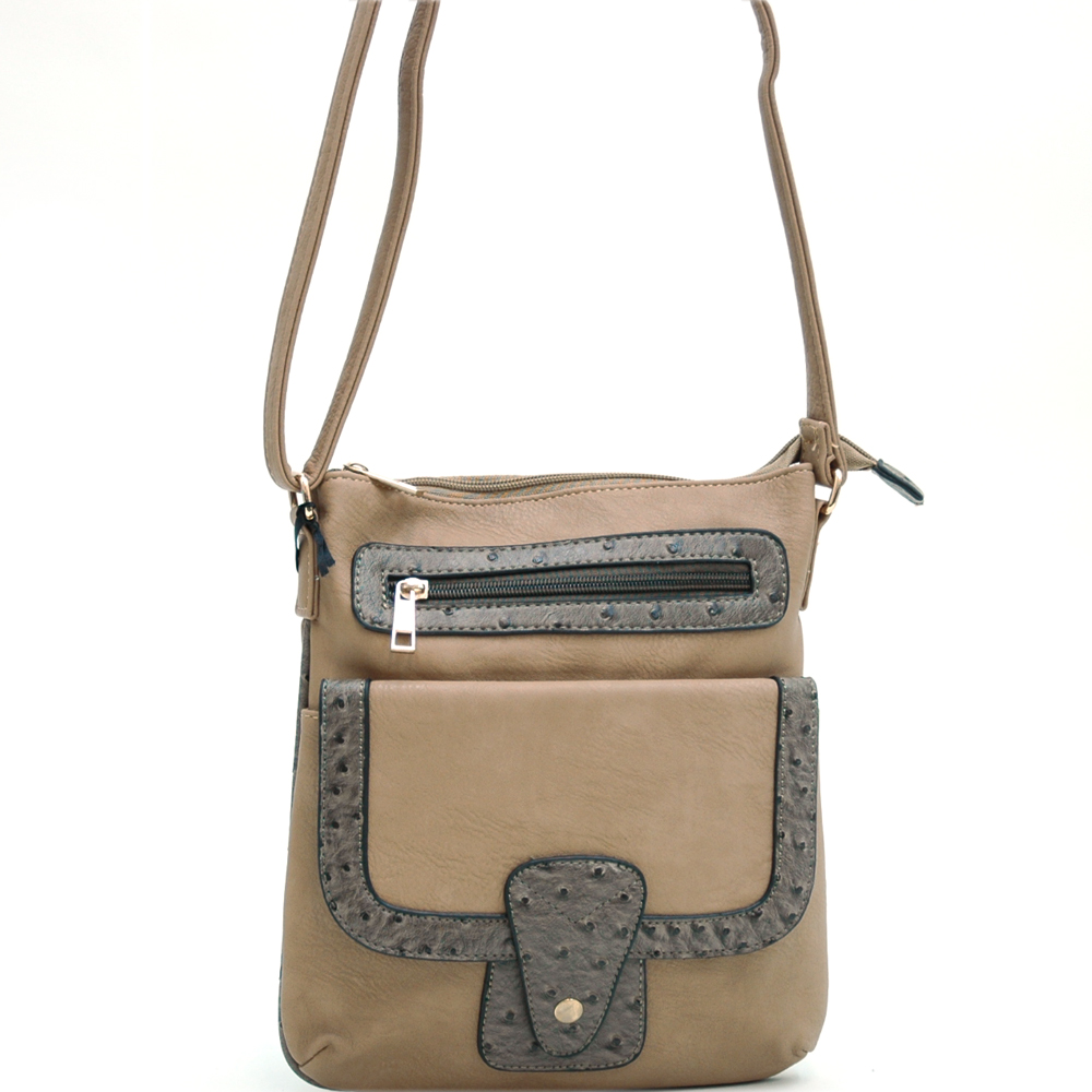Sophisticated Ostrich Trim Messenger Bag