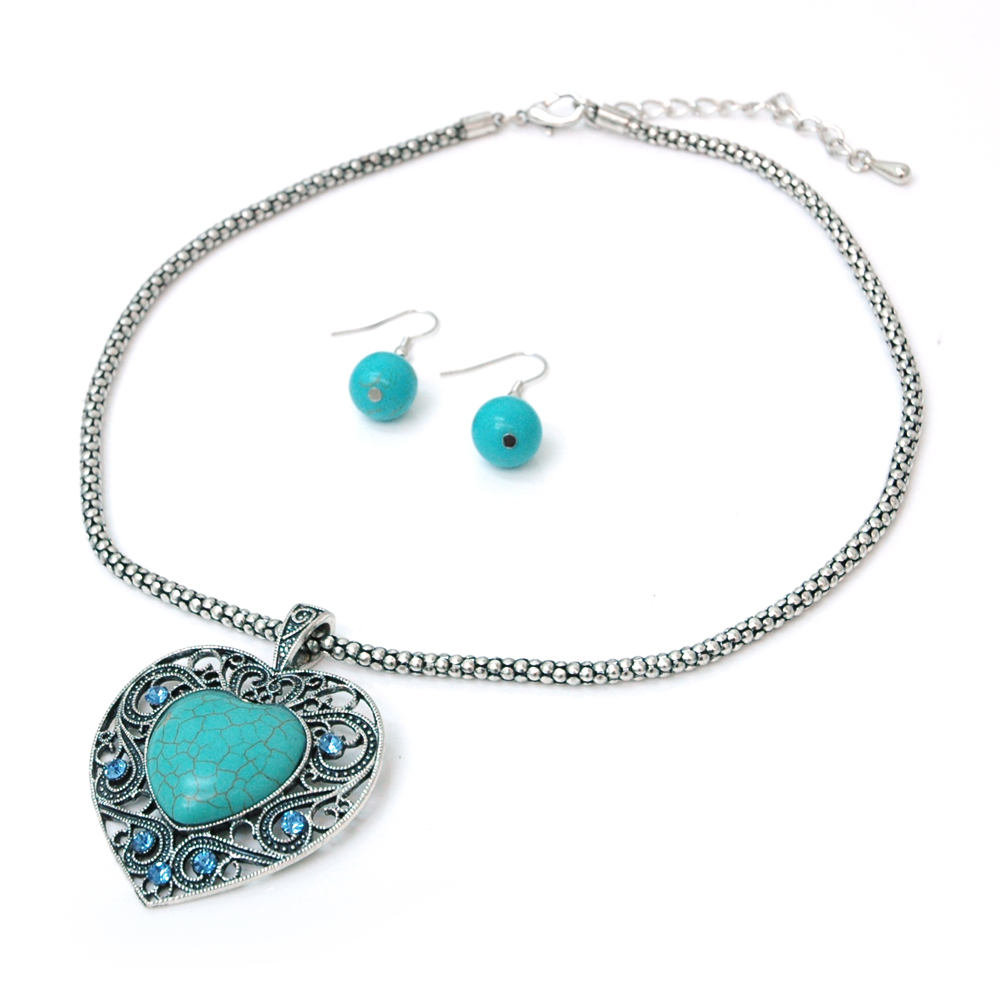 Turquoise Heart Stone Necklace and Earring Set w/ Blue Rhinestones
