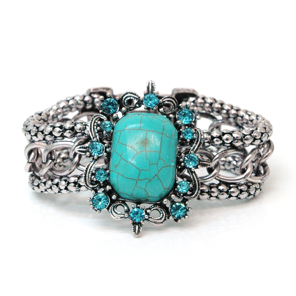 Metal Chain Bracelet w/ Turquoise Stone and Rhinestones