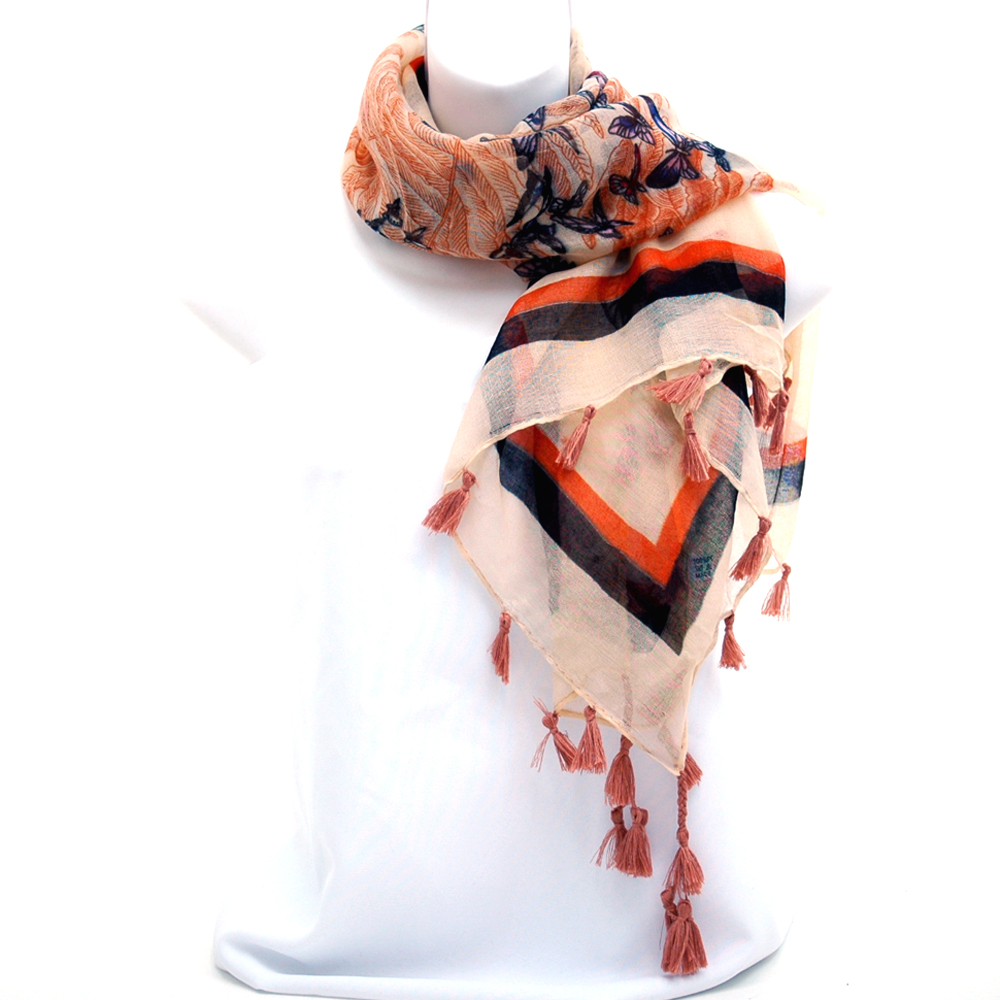 Square Scarf with Butterfly Design and Tassel Accents-Tan