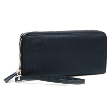 Dasein Faux Leather Dual Zip Compartment Wallet with Wristlet Strap-Black