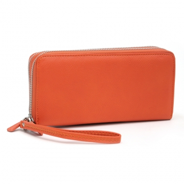Dasein Faux Leather Dual Zip Compartment Wallet with Wristlet Strap-Orange