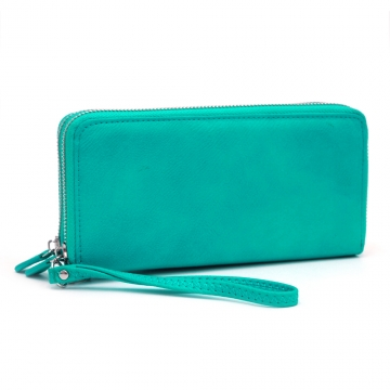 Dasein Faux Leather Dual Zip Compartment Wallet with Wristlet Strap-Light Blue