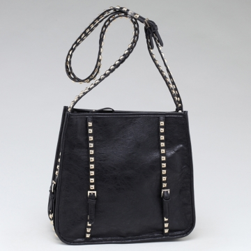 Emperia Square Fashion Shoulder Bag with Long Studded Straps-Black