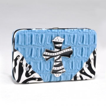 Alyssa Croco Textured Wallet with Zebra Trim and Rhinestone Cross-Light Blue