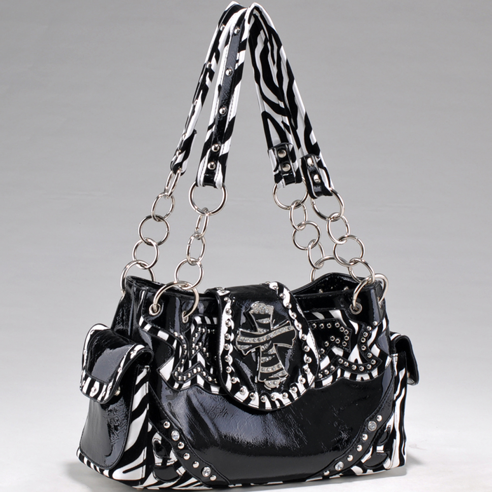 Alyssa Fashion Studded Zebra Print Shoulder Bag with Rhinestone Zebra Cross Accent-Black