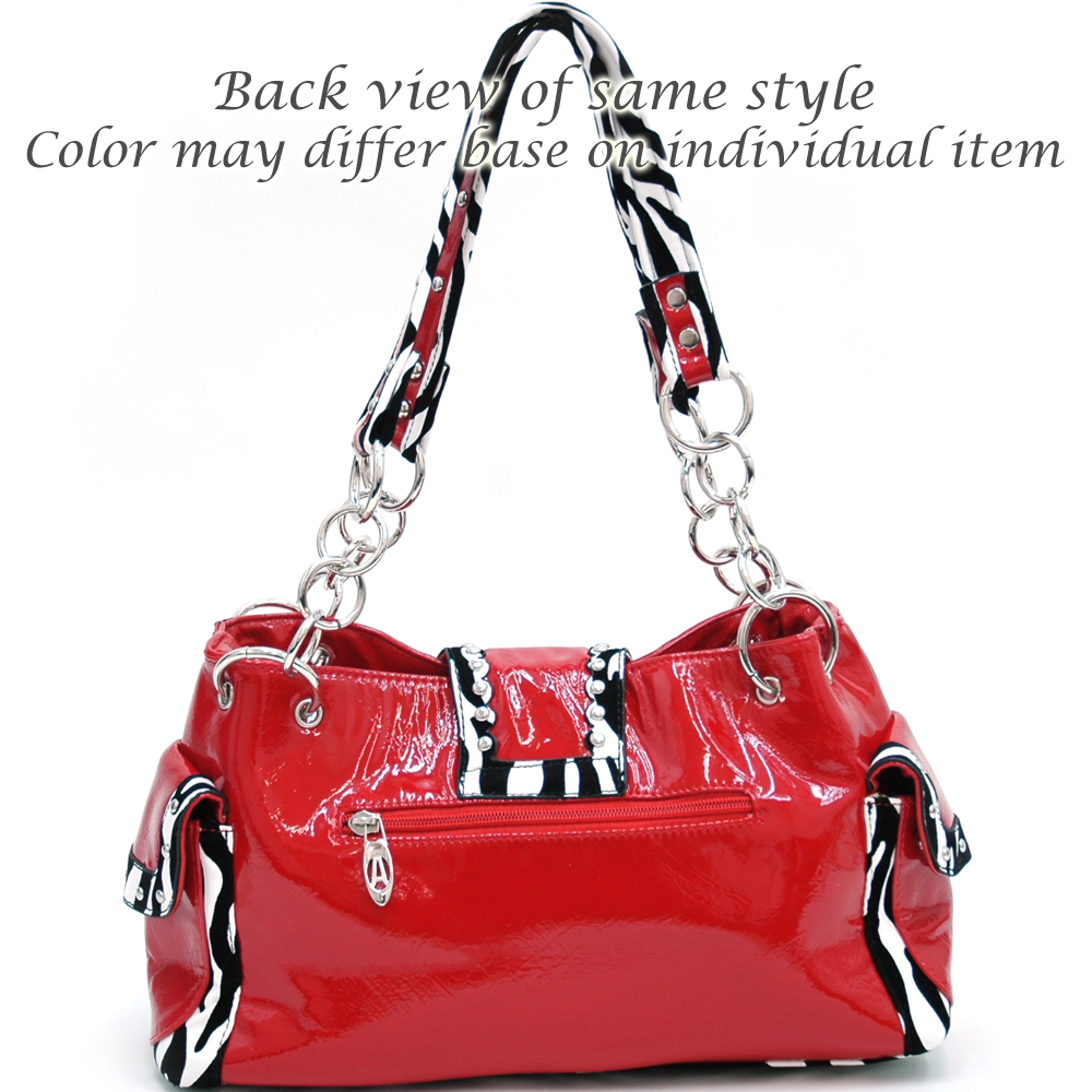 Alyssa Fashion Studded Zebra Print Shoulder Bag with Rhinestone Zebra Cross Accent-Red
