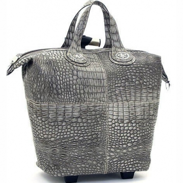 Ustyle Fleur de Lis Tote Style Croco Textured Luggage-Grey