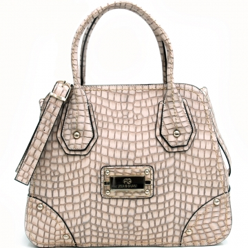 Sophisticated Croco Textured Satchel
