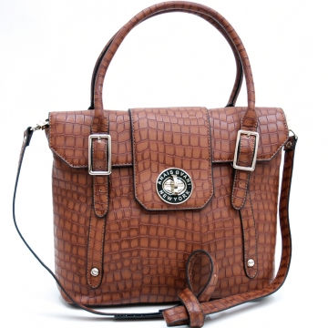 Anais Gvani ® On-the-Go Croco Textured Satchel / Crossbody Bag-Brown