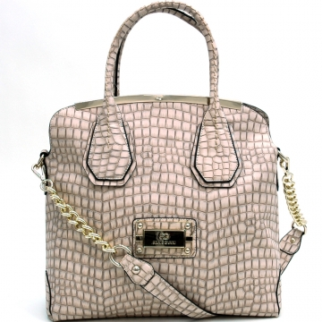 Anais Gvani ® Large Gold-Trimmed Croco Tote Bag-Cream Color