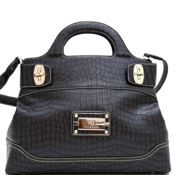 Chic Croco Fashion Satchel w/ Gold Accents
