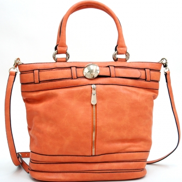 Belted & Zipped Up Fashion Tote w/ Gold Accents