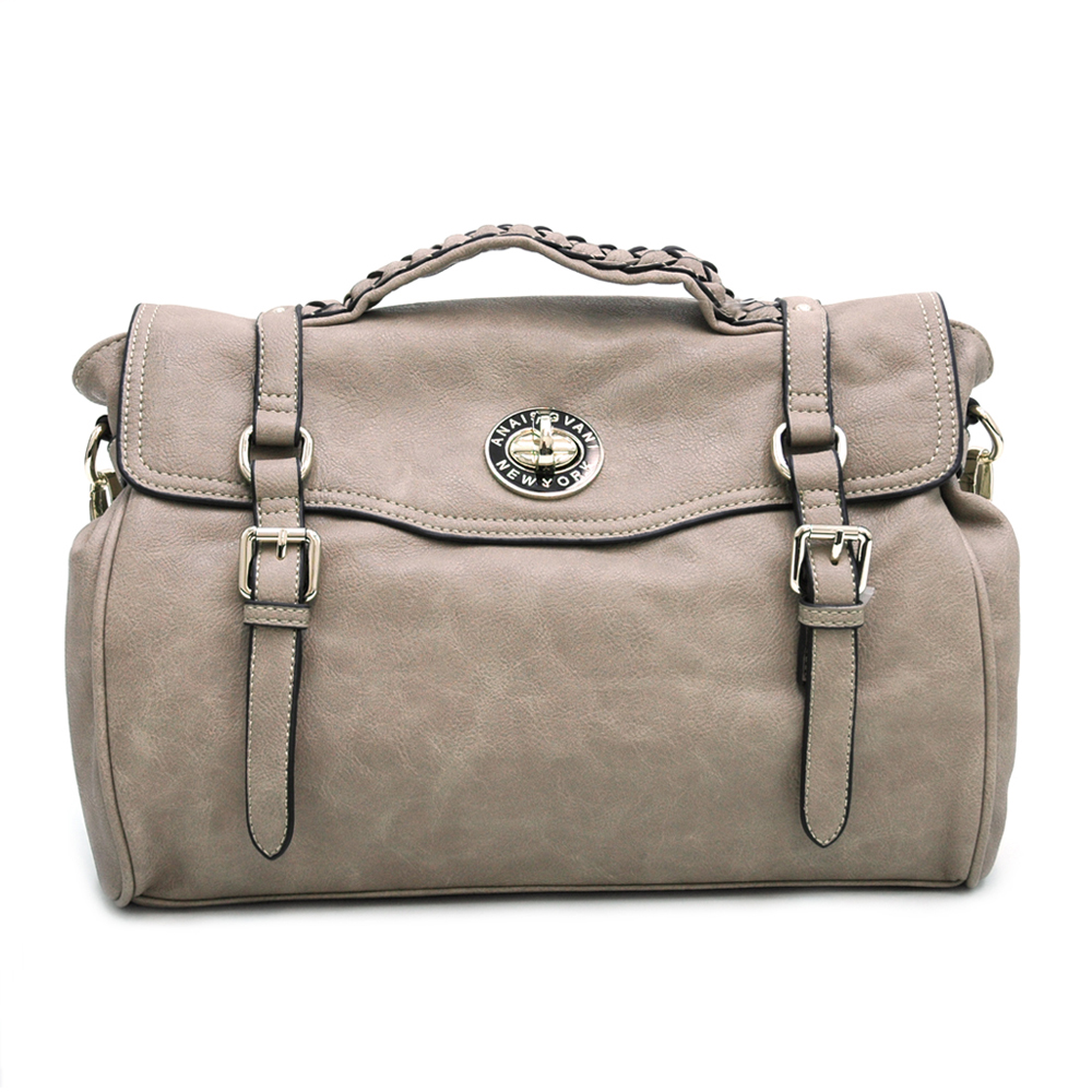 Fashion Belted Briefcase/Messenger Bag w/ Braided Accents  Taupe Grey