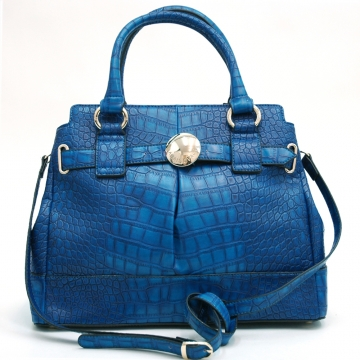 Anais Gvani  ® Chic Croco A-Frame Satchel with Belted Accent-Blue