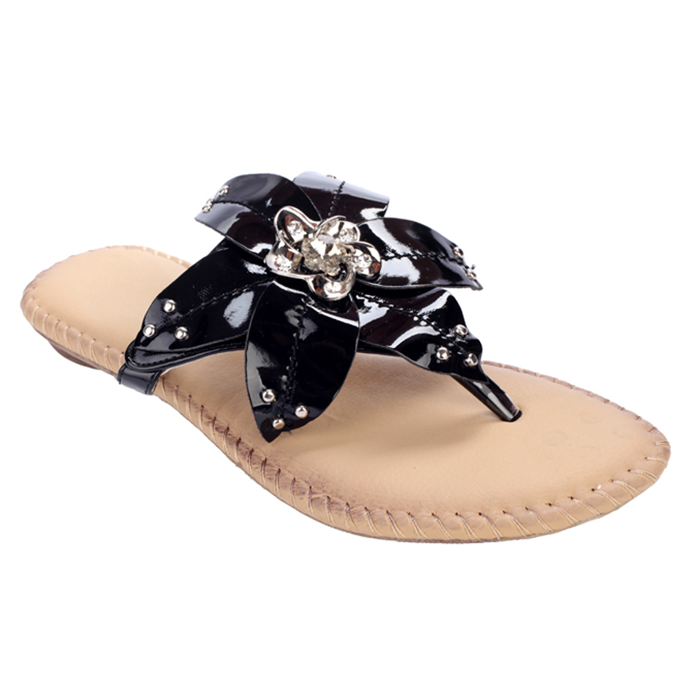 Full Bloom Flower Summer Sandals w/ Stud Accents Black Upper