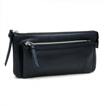 AG Classic Smooth Italian Leather Zipper Pouch Wallet-Black