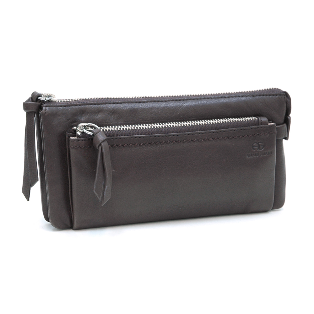 AG Classic Smooth Italian Leather Zipper Pouch Wallet
