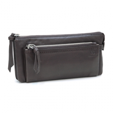 AG Classic Smooth Italian Leather Zipper Pouch Wallet-Deep Brown