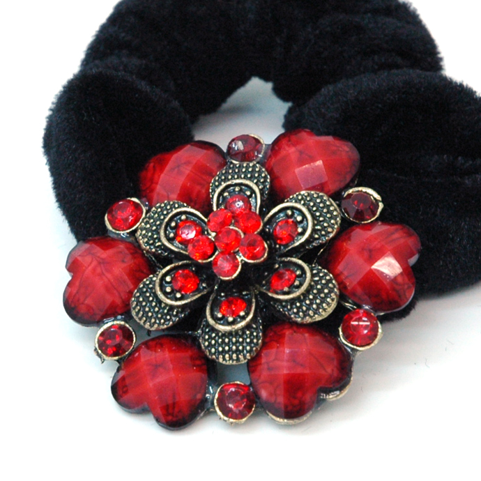 Gold Floral Hair-tie with Heart Floral Stone Accents-Red
