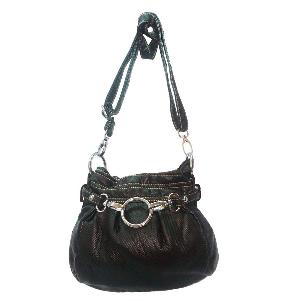 Ustyle Stone Washed Petite Cross Body Bag with Detachable Strap-Black