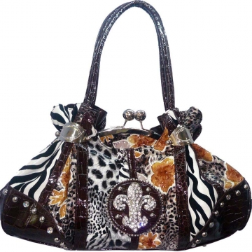 Animal & flower print rhinestone fleur de lis shoulder bag