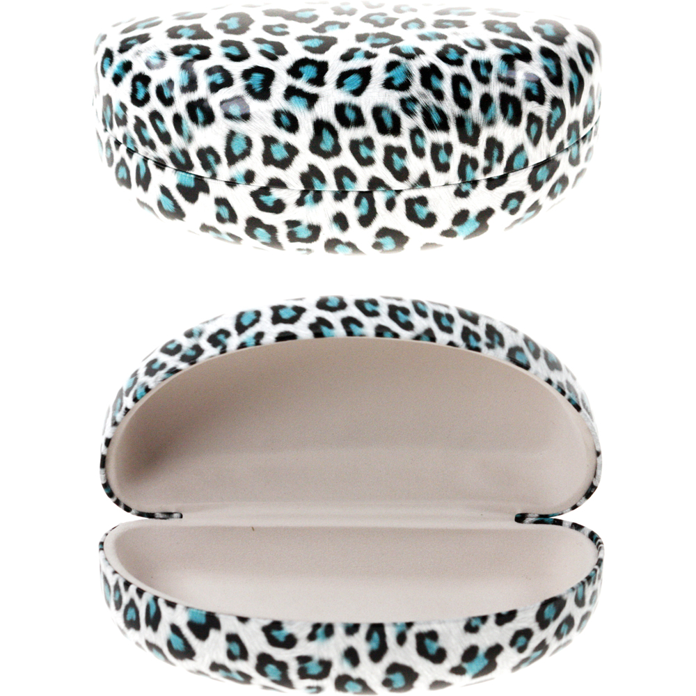 Hard Leopard print Sunglass case White/Turquoise