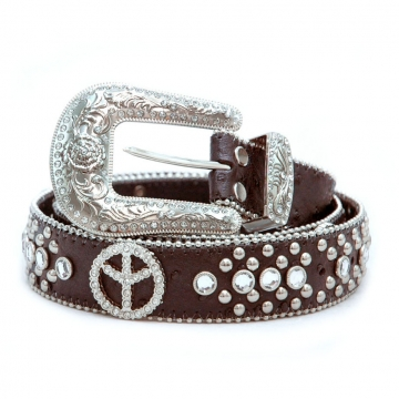Rhinestone peace sign belt