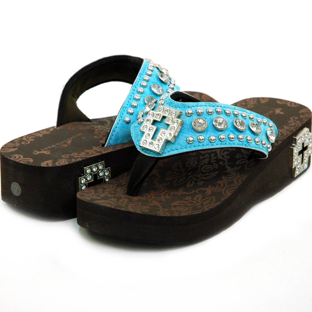 Women's Flip Flops w/ Croco Upper & Rhinestone Cross Accent