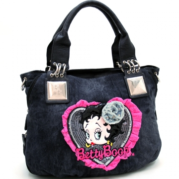 Betty Boop® Denim Shoulder Bag w/ Sequin and Lace Accents Black
