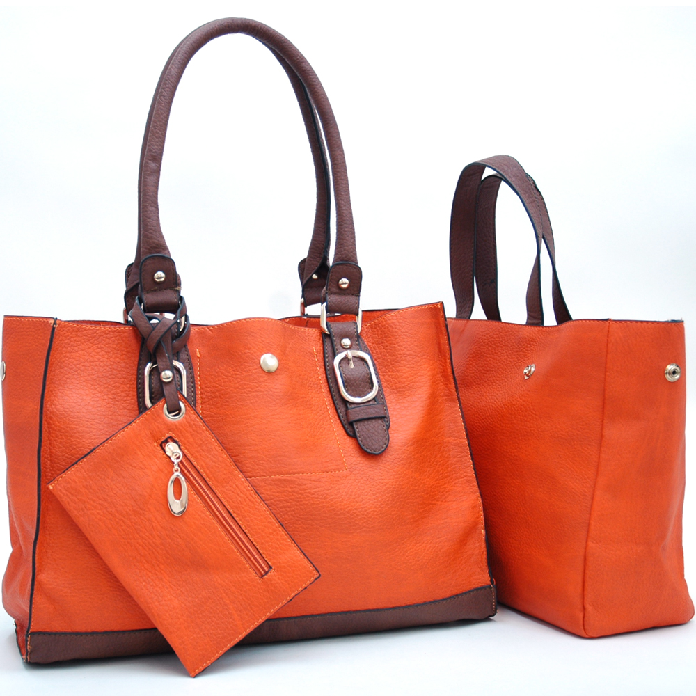 Two-Toned 2-in-1 Tote Bag w/ Attached Coin Pouch