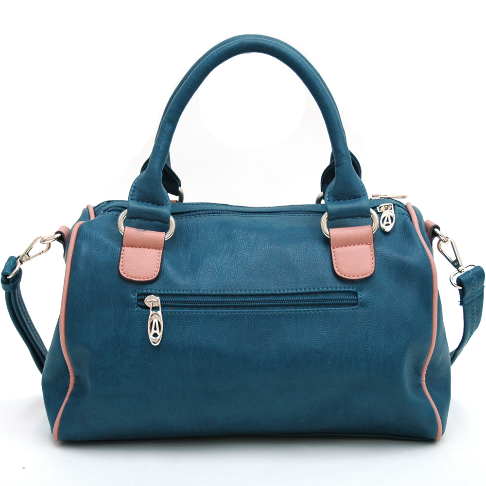 Multicolor Fashion Satchel w/ Bow Accent & Bonus Shoulder Strap Blue/Pink Trim