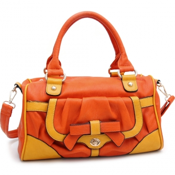 Multicolor Fashion Satchel w/ Bow Accent & Bonus Shoulder Strap