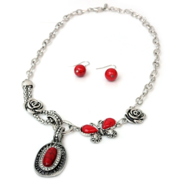 Butterfly Necklace & Earring Set w/ Rosette & Color Stone Accents