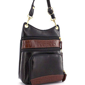Belle Rose Mini Messenger Bag with Croco Leather Trim - Black/ Trim