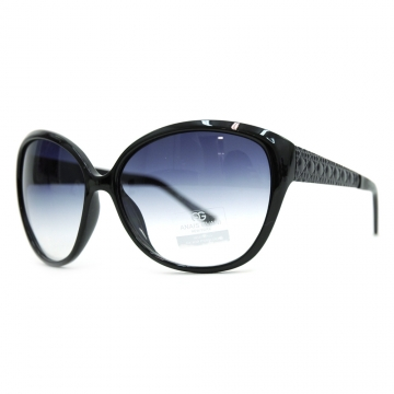Anais Gvani ® Oversized Fashion Sunglasses with Quilt-like Texture Design on Side-Black