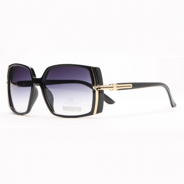 Anais Gvani ® Classic Square Frame Sunglasses with Gold Lined Accent-Black