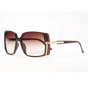Classic Square Frame Sunglasses w/ Gold Lined Accent