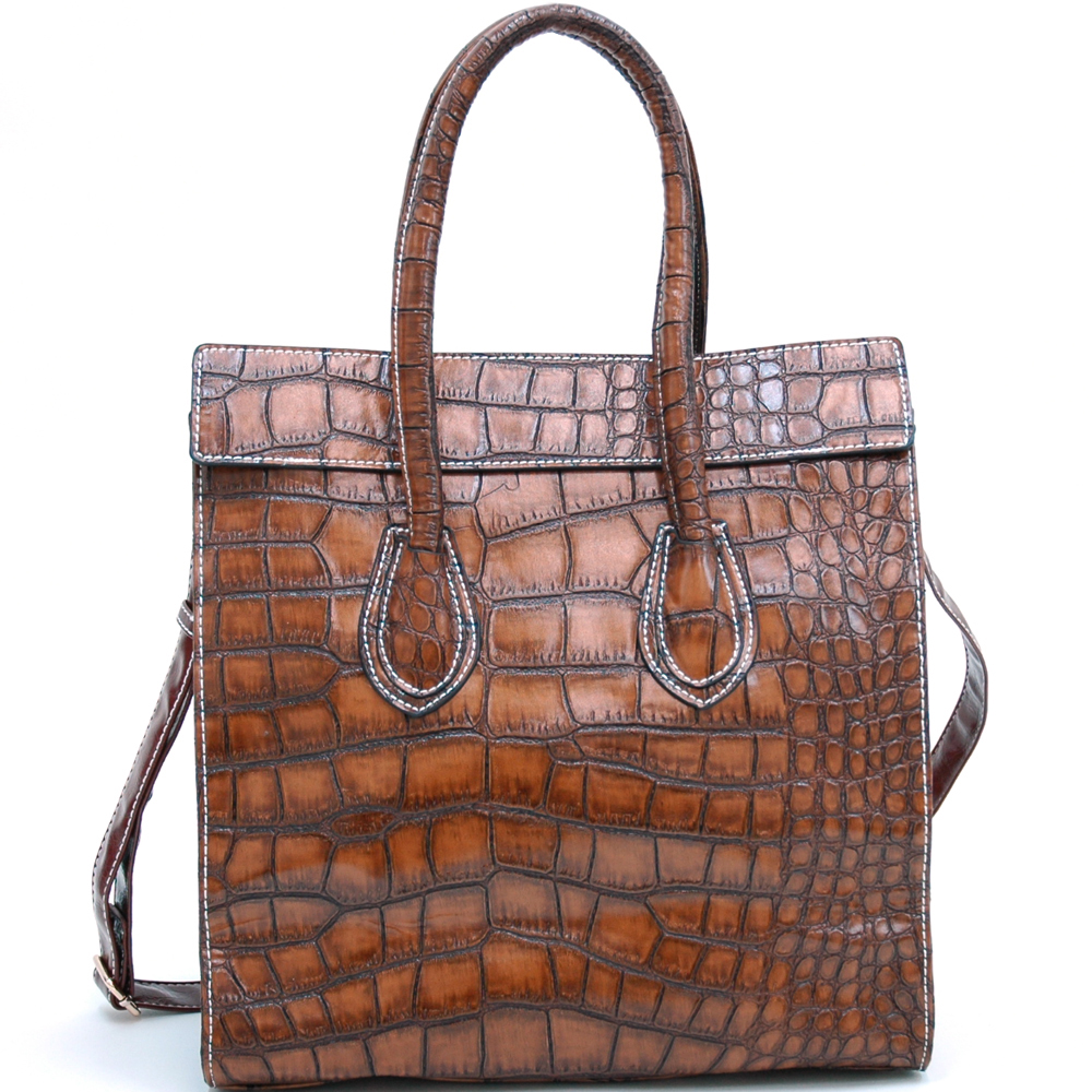 Croco Fashion Satchel w/ Rhinestone Embellishments
