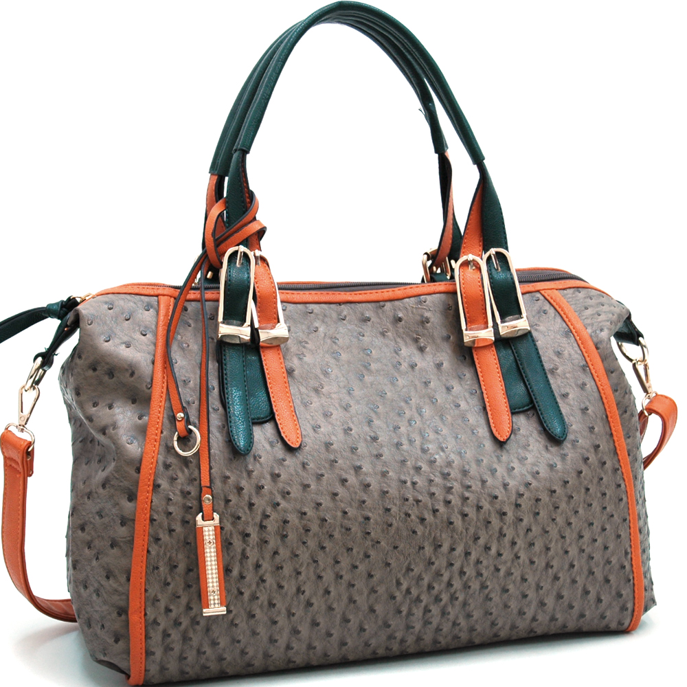 Fashion Ostrich Texture Shoulder Bag w/ Belt Accents