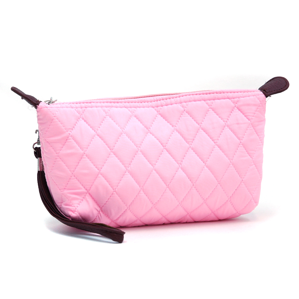 Quilted Makeup Bag With Leatherette Shoulders